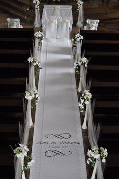 DIY Indoor Wedding Aisle Decorations for Church chiffon wedding aisle decorations Church Wedding Flowers, Wedding Pews, Wedding Isles, Wedding Bouquets, Wedding Isle Decorations, Church Decorations, Indoor Wedding, Wedding Designs, Wedding Colors
