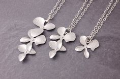 Mother Daughter Necklace silver orchid necklace mom by MegusAttic