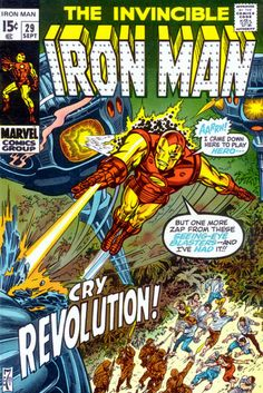"Iron Man Vol (published by Marvel Comics) left Back to title selection : Comics I : Iron Man Vol 1 Contents[show] Nos. Iron Man ""Alone Against A."" (May, Iron Man ""The Day of the Demolisher!"" (June, Iron Man ""My Friend, My Foe, The Freak. Marvel Comics, Marvel Comic Books, Marvel Characters, Marvel Heroes, Comic Books Art, Book Art, Iron Men, Iron Man Comic Books, Silver Age Comics"