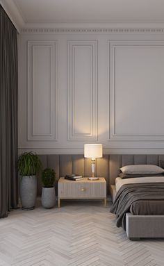 MI apartments bedroom on Behance Master Bedroom Interior, Bedroom Bed Design, Modern Bedroom Design, Home Room Design, Home Bedroom, Home Interior Design, Design Kitchen, Modern Apartment Decor, Apartment Interior