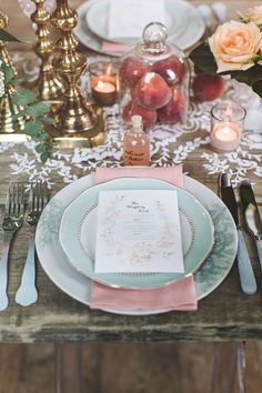 French Inspired Table Setting | Fruit Flowers and Pastel Palette
