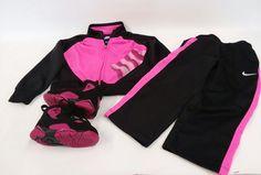 af48ca4a951685 Nike Air Jordan Girls 2 Pc Set Jacket   Pants Size 6 + Shoes Black Pink Green   Nike  3pcSet  Everyday
