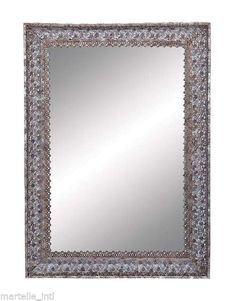 Metal Frame Mirror with Dainty Floral Motifs Traditional Free Shipping Brand New #Traditional