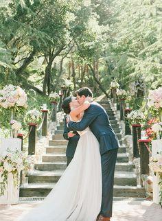 Bride in @watterswtoo Santina wedding dress. Blush & Nude Rancho Las Lomas Wedding - Inspired by This