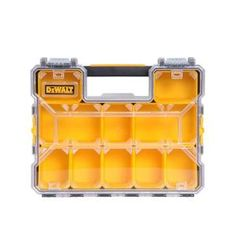 The DEWALT is a organizer made to withstand the rigors of the jobsite. This organizer has an integrated handle for easy portability. Organizer for small parts organization. Small Parts Organizer. Dewalt Storage, Tool Box Storage, Vinyl Storage, Crate Storage, Tool Organization, Storage Bins, Organizer Bins, Dewalt Tool Box, Dewalt Tools