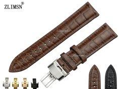 Zlimsn 14 - 26Mm Black Brown Crocodile Leather Watch Strap Deployment Clasp Band