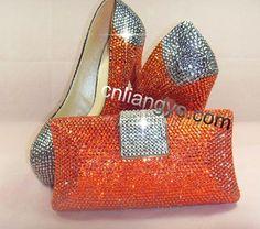 f3c7119cf5a8d3 Crystal Shoes with Matching Clutch Bag · Aliexpress.com   Buy NEW WOMENS  HIGH HEELS SWAROVSKI ORANGESILVER CRYSTAL PARTY  EVENING WEDDING