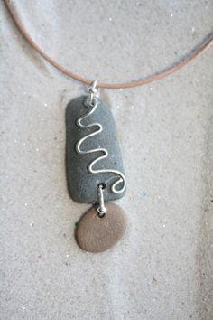 Beach Stone Necklace by Justastonethrow on Etsy, $25.00