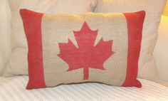 Burlap flag with the Canadian flag printed by hand on the front. Comes filled with polyfill and slip stitched closed. Measures approx 16 x Spot clean only. Burlap Flag, Burlap Pillows, Throw Pillows, Nostalgia, Canada Eh, Cool Countries, Vintage Travel Posters, Cushions On Sofa, Fabric Painting