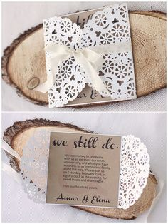 Doily card (square CS base, cut & fold over 2 doilies, add ribbon, cover back (doilies & ribbon) with another CS square)