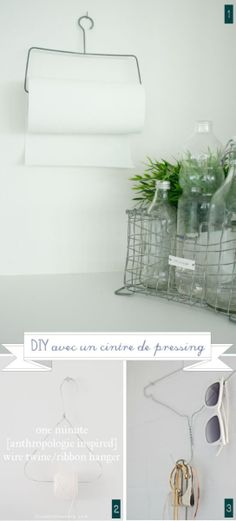 Ways to Reuse Wire Hangers  - wire hanger bent to hold paper towels/toilet paper roll  you can hang anywhere !!