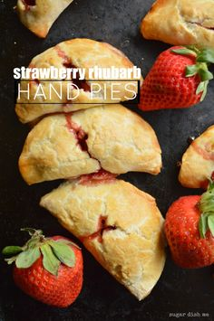 Strawberry Rhubarb Hand Pies a super easy recipe using sweet and tart seasonal fruit!