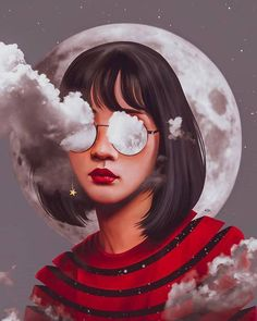 art, girl, and illustration image surrealista Elena.masci_illustrations discovered by Sενεи Digital Art Girl, Digital Portrait, Portrait Art, Abstract Portrait, Portraits, Art Sketches, Art Drawings, Art And Illustration, Illustrations