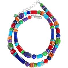 Turquoise, Coral, Lapis, Spiny Oyster Southwestern Necklace Beautiful and vibrant beads combine together in this stunning necklace creating a true art to wear piece of jewelry that you won't want to take off! Great quality turquoise, Lapis, bamboo coral, spiny oyster in various shapes and sizes with sterling silver spacers throughout create a colorful and versatile necklace. The necklace measures 18 inches with a sterling silver lobster clasp and 2 inch extender chain.