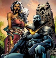 Ororo Storm with Black Panther - Marvel heroes Comic Book Characters, Comic Book Heroes, Marvel Characters, Comic Character, Comic Books Art, Comic Art, Book Art, Marvel Comics, Heros Comics