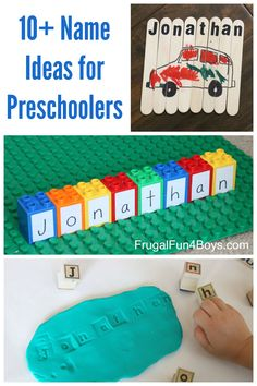 Simple Name Activities for Preschoolers - 10 Name Games Name Writing Activities, Name Activities Preschool, Preschool Learning Activities, Learning Letters, Toddler Learning, Preschool Kindergarten, Early Learning, Preschool Name Recognition, Letter Recognition