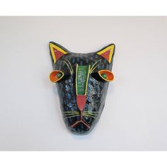 Gina Truex Feline Mask Paper Mache Wall Hanging, Vintage Hand Painted Artist Creation Colorful Cat Leopard Jaguar Paper Mache, Gina Turex ($48) found on Polyvore featuring home, home decor and wall art