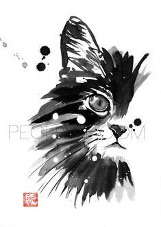 demi chat w Watercolor Tattoo Music, Watercolor Cat, Watercolor Animals, Watercolor Paintings, Watercolors, Cat Drawing, Painting & Drawing, Animal Paintings, Animal Drawings