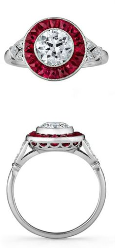 The Vanderbilt Tiffany & Co. Art Deco Diamond & Ruby Ring, It's one center old European cut diamond is approximately .95 carats and is encircled by 16 lively French cut Burmese rubies in deep raspberry red. Flanked by six small old European cut diamonds, all set in platinum.