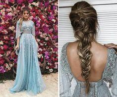 Thassia Naves de vestido Zuhair Murad azul para o casamento de Marina Ruy Barbosa - inspiração de look para madrinha e convidada