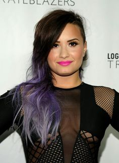 Demi Lovato with violet hair.