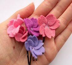 Felt Cherry Blossom Hairpins