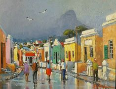 """""""Bo Kaap, Cape Town"""" by Nasser N. Colorful Art, Art Painting, Amazing Paintings, Illustration Art, Cottage Art, South African Art, Impressionism Painting, Art And Architecture, South African Artists"""