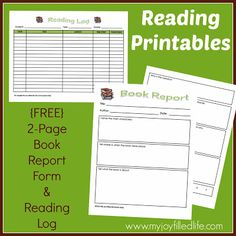 FREE Reading Printables - 2 page mini book report form and a reading log.