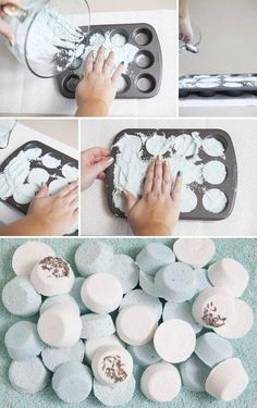 Make DIY bath bombs in a muffin tin.