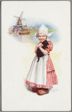 Reclametekening gesigneerd met C.T.H. (C.T. Howard) Tekening van meisje met poes. Onbegrepen versie van het Volendams kostuum. Op de achtergrond een scheepje, huisje en molentje. 1928 #NoordHolland #Volendam