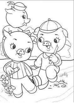 Die drei kleinen Schweinchen Ausmalbilder. Malvorlagen Zeichnung druckbare nº 3