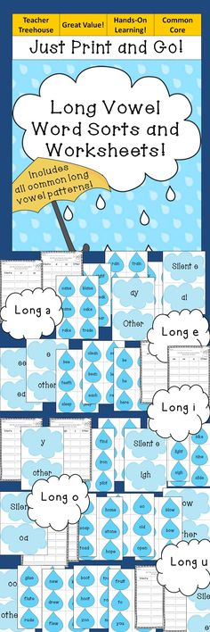 This is a bundle of long vowel word sorts. There are 5 sorts in all. Each sort features all of the common long vowel patterns with an option to include words with 'other' patterns that make the same sound. There are worksheets to go with each sort.