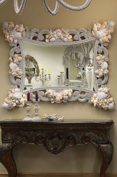 find old mirror; paint; embellis with shells and rhinestones = gorgeous!