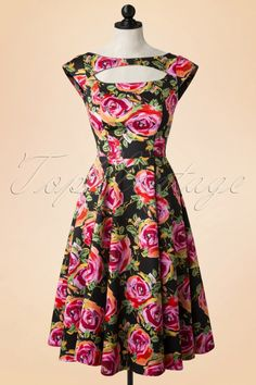 Hearts and Roses Cut Out 50s Floral Roses Swing Dress 102 14 17109 20150923 000pop