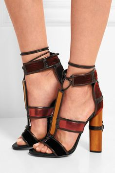 Tom Ford | Paneled leather, velvet and satin sandals | NET-A-PORTER.COM