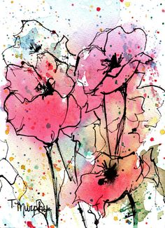 Pink Poppies Watercolor Art Painting Print 5x7 inches. $10.00, via Etsy.