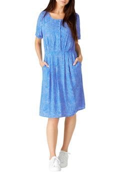 SUMMER 17  LITZY SWIRLING DOTS BUTTON UP DRESS - The perfect day dress has arrived. Slip on this easy elegant dress, with a fitted waist and full skirt for a comfortable, flattering fit. The vibrant powder blu...
