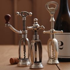 These elegant antiqued silver plated corkscrews will look lovely on any bar! Tall corkscrew with opener H x W Medium corkscrew with wood accented-handle. Short corkscrew H x W Whisky, Bar A Vin, Vintage Wine, Vintage Silver, Antique Silver, Vintage Style, Vintage Inspired, Vintage Trends, Corks