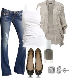Jeans, tank, cardigan and flats!