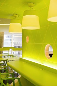 Colorful Interior Design Of Bangkok University Creative Center On Chartreuse Color, Green Colors, Colorful Interior Design, Colorful Interiors, Colorful Furniture, Commercial Design, Pantone Color, Colour Schemes, My Favorite Color