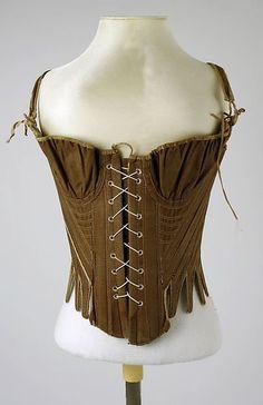 Cotton corset century (looks like transitional stays) - in the Metropolitan Museum of Art costume collections. 18th Century Stays, 18th Century Dress, 18th Century Costume, 18th Century Clothing, 18th Century Fashion, Vintage Corset, Vintage Lingerie, Historical Costume, Historical Clothing