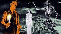 black and white monster movie images House on Haunted Hill