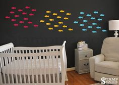 School of Fish Wall Decal  Fish Pattern Sea Scene by stampmagick