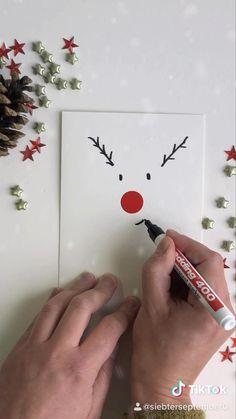 Christmas Cards Handmade Kids, Simple Christmas Cards, Christmas Card Crafts, Funny Christmas Cards, Christmas Art, Diy Xmas Cards Ideas, Diy Christmas Videos, Christmas Cards Drawing, Watercolor Christmas Cards