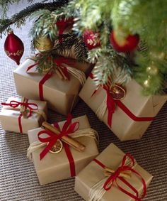 Brown paper packages tied up with pretty red bows