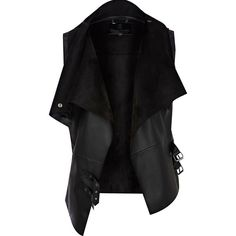 River Island Black leather look gilet ($37) ❤ liked on Polyvore featuring outerwear, vests, jackets, tops, coats, sleeveless draped vest, sleeveless waistcoat, sleeveless vest, drape vests and gilet vest