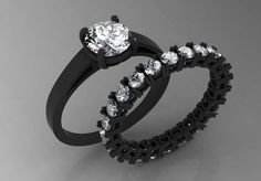 14k Black Gold Elegants Engagement or Wedding Set with Eternity Band with Diamonds Item# WR-0335