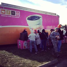 Dunkin' Donuts and our franchisees are working hard to help keep our communities affected by Hurricane Sandy running by sending out trucks to serve free coffee & hot chocolate to residents and relief workers. Photo here is from Miller Field in Staten Island.