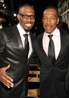 Comedians and brothers Charlie Murphy with his younger brother EddIe Murphy Sadly Charlie who was only died Wednesday April 2017 of leukemia. Black Actors, Black Celebrities, Celebs, Celebrity Siblings, Celebrity Babies, Celebrity Photos, Celebrity Style, Vintage Black Glamour, Eddie Murphy