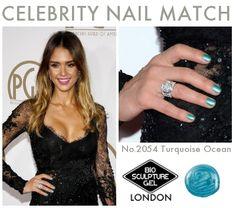 Celebrity Nail Match:#2054 TurquoiseOcean Bio Sculpture Gel Nails, Celebrity Nails, Gel Nail Art, Jessica Alba, Nails Inspiration, Celebs, Turquoise, Fashion Trends, Beautiful